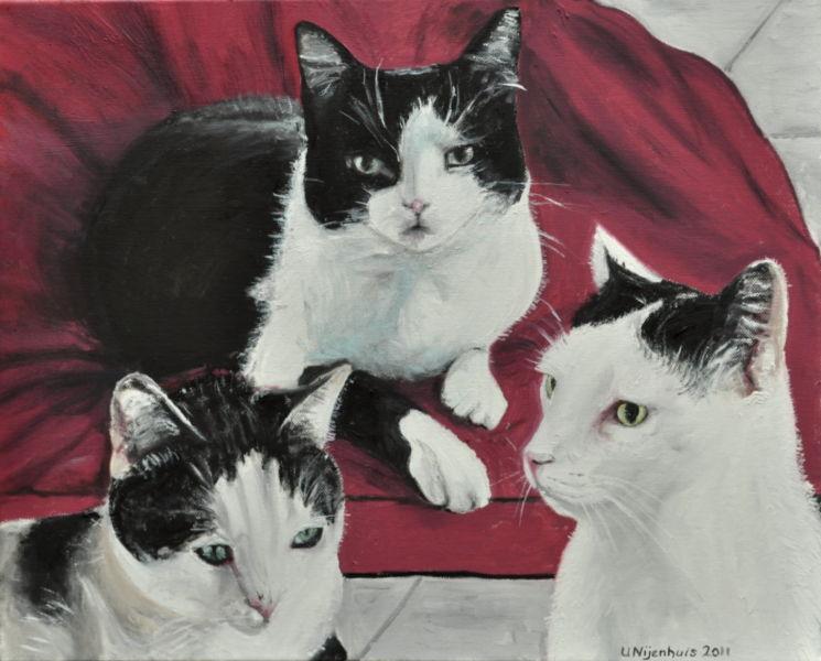 Drei Katzen, Gemälde